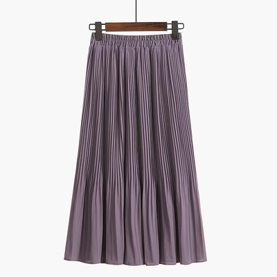 羊城故事雪纺百褶半身裙女中长款夏季2020新款过膝黑色长裙子