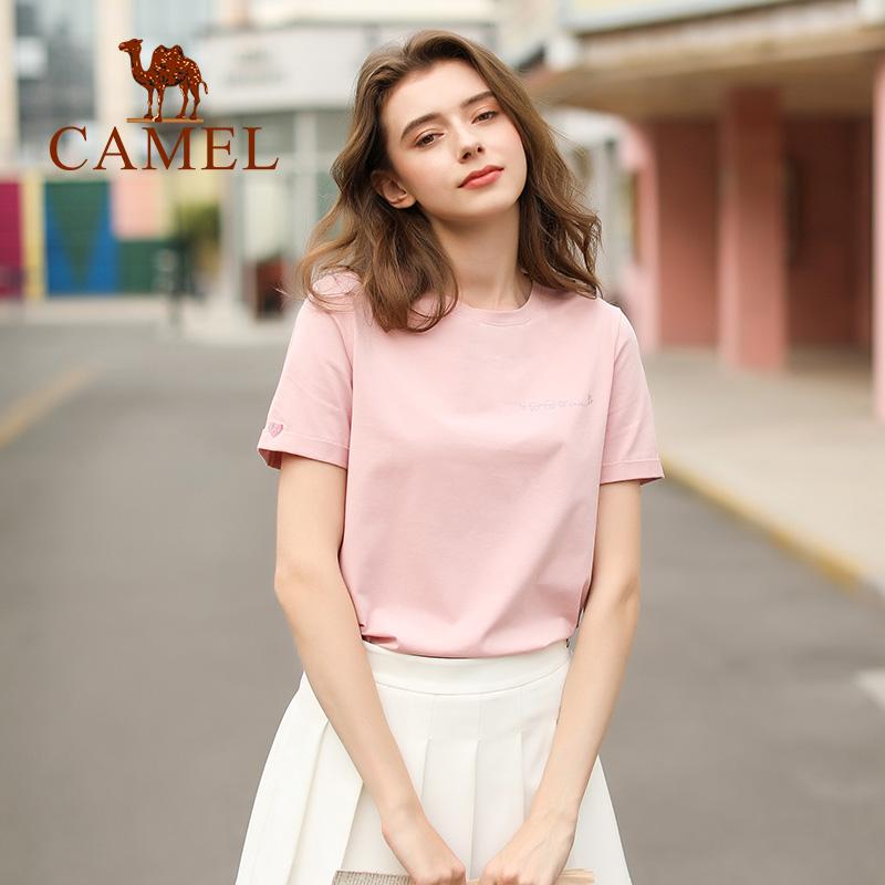拍2件骆驼女装2021夏季新款纯棉t恤网