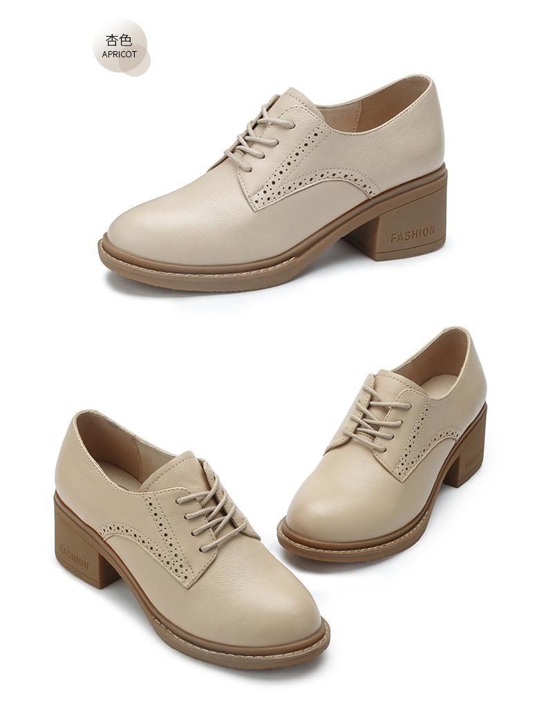 骆驼女鞋春秋新款爆款英伦风小皮鞋真皮鞋子粗跟单鞋高跟鞋女详细照片