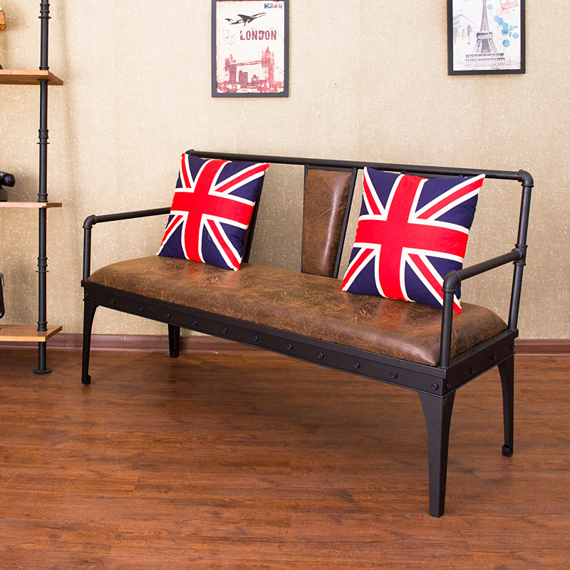 Loft Wrought Iron Sofa Industrial Style American Studio Clothing Store Cafe Casual Restaurant Chair
