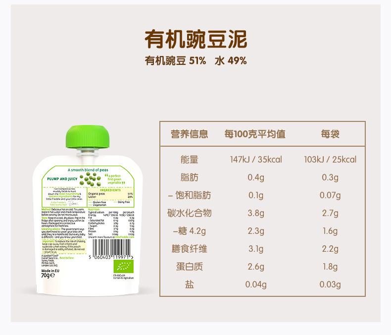 小皮4~6月龄婴幼儿有机水果蔬泥初次添加辅食宝宝辅食70g*4吸吸袋商品详情图
