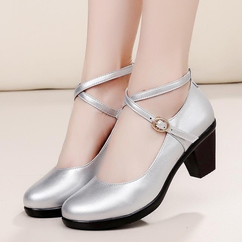 旗袍走秀单鞋女中跟粗跟圆头红色银色交叉带皮鞋2018舞蹈鞋真皮鞋