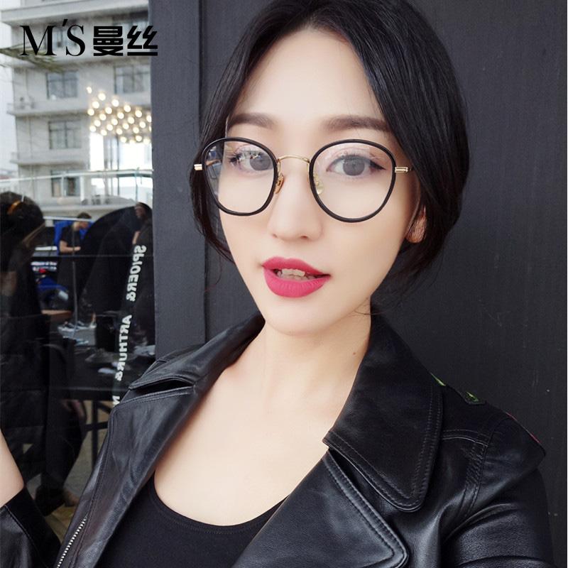 曼丝板材眼镜框女韩版超圆形复古镜细框小脸近视眼镜架可配近视