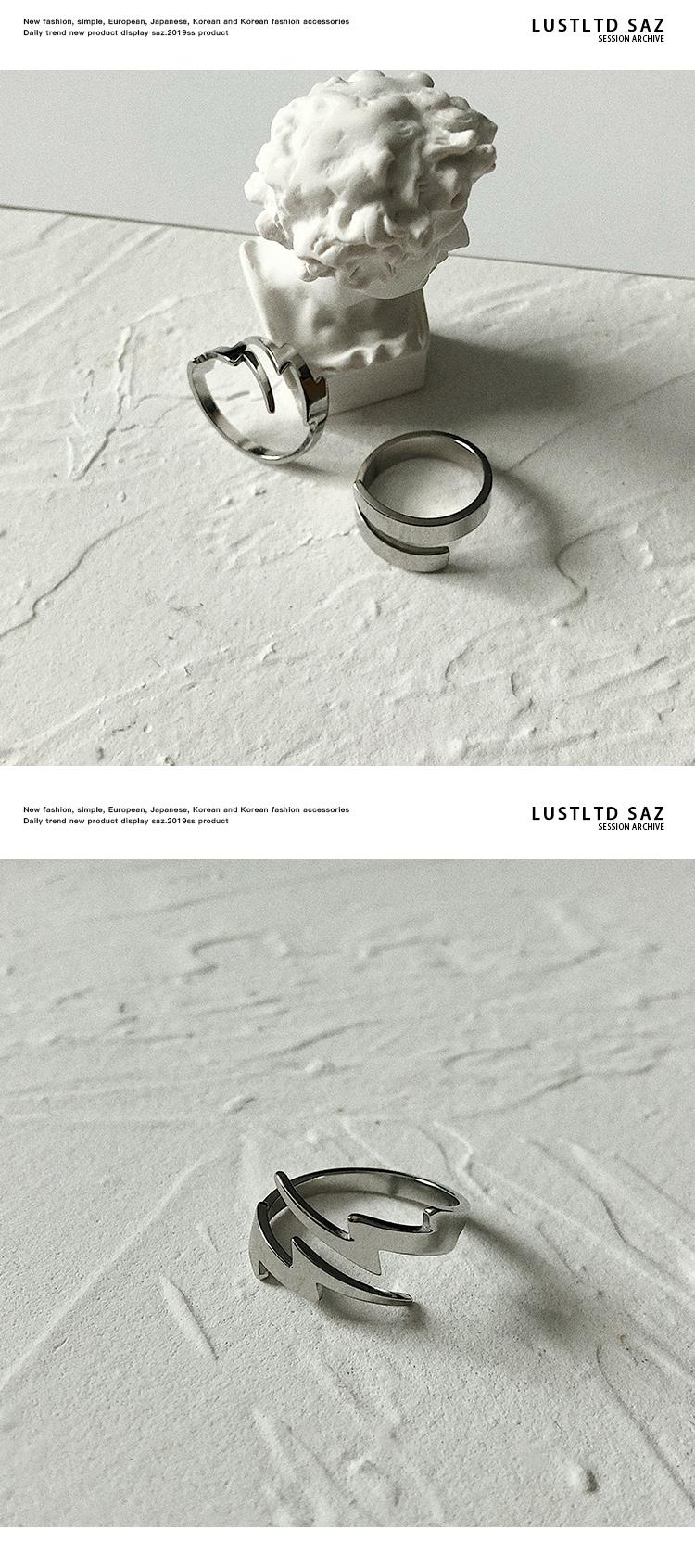 戒指 SAZ 原創潮牌閃電戒指鈦鋼鏤空個性簡約套裝可調節暗黑風指環男女 時尚搬運工