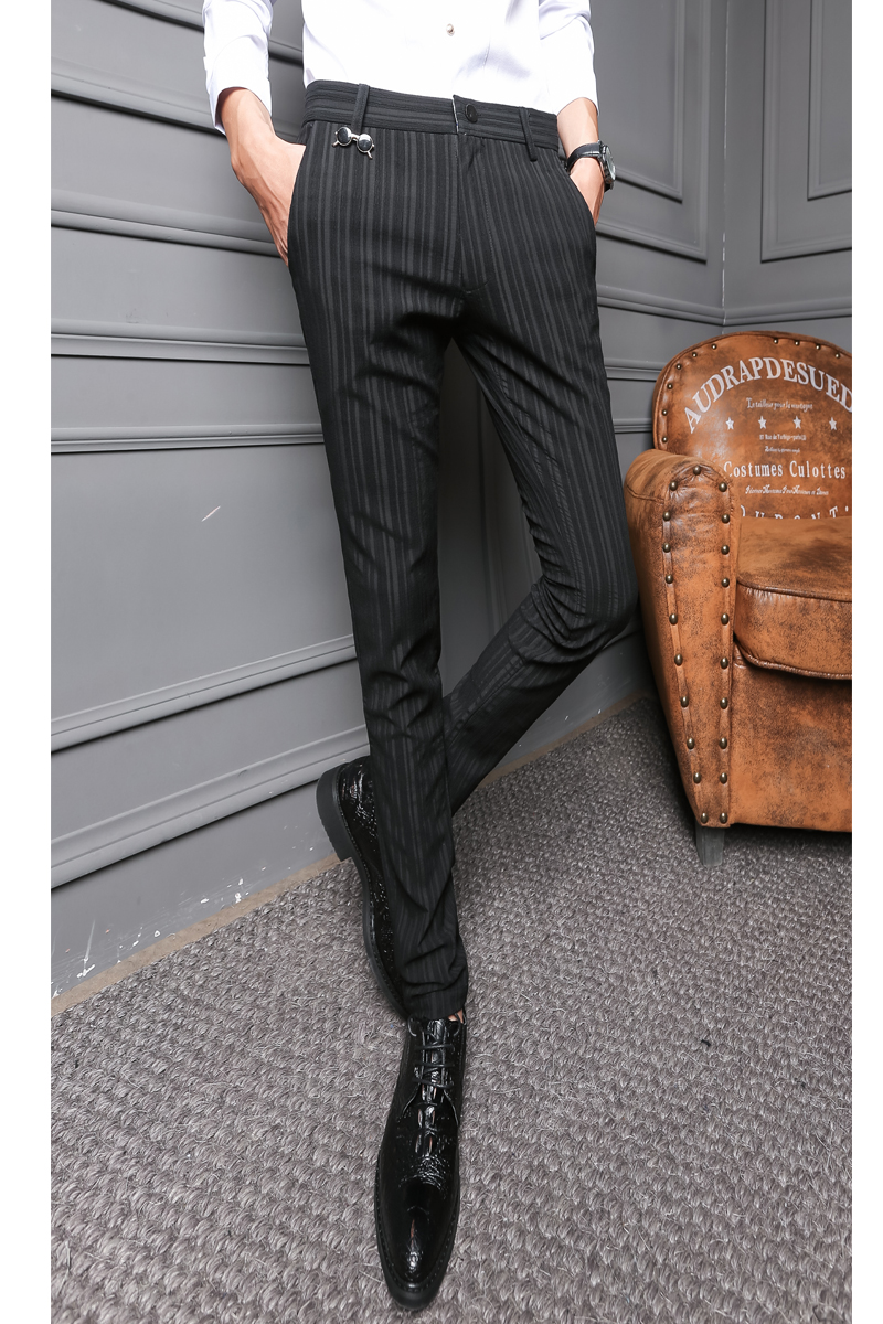 Autumn, Winter, Men's Fashion, Warm Pants, Fashion Stripes, Casual Trousers, Flannel And Thickened Men's Pants.