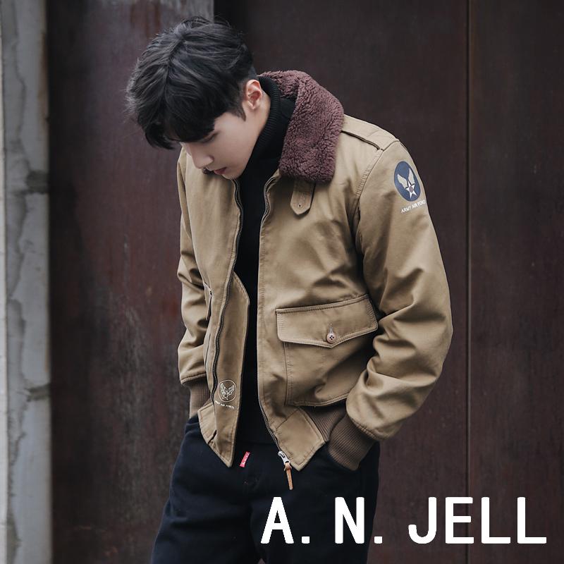 韩国ulzzang男装18冬东大门学生韩版羊羔毛领修身棉衣夹克外套潮