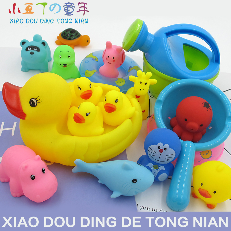 Baby toy yellow duck bath baby boy girl pinched duckling child ...