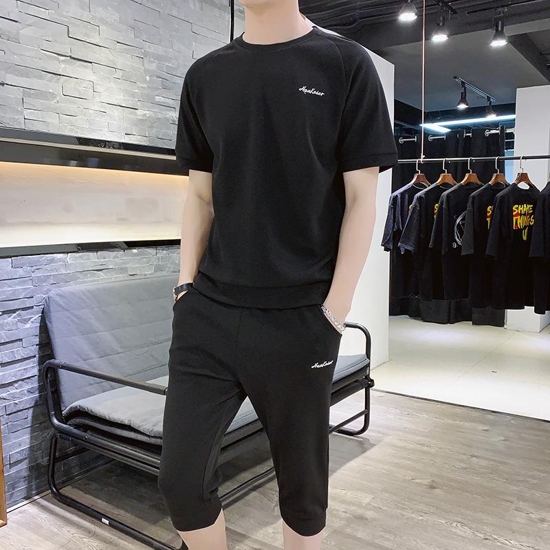 夏季男士运动休闲T恤+裤子套装男装