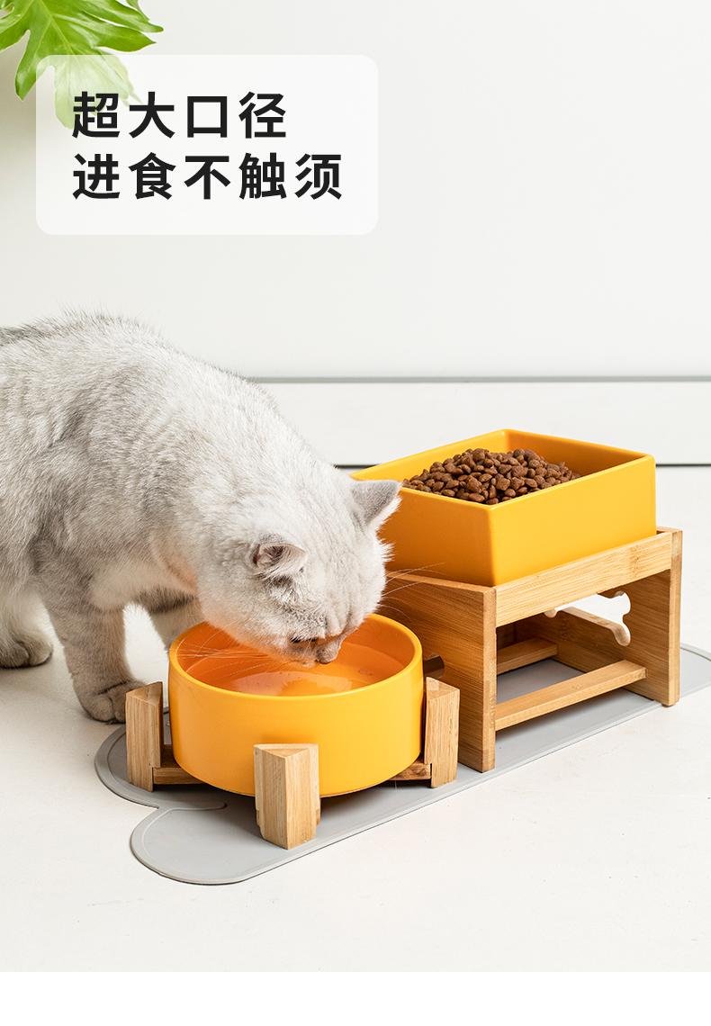 狗碗猫粮碗狗食盆双饭碗保护颈椎高脚架防打翻中大型犬陶瓷宠物碗详细照片