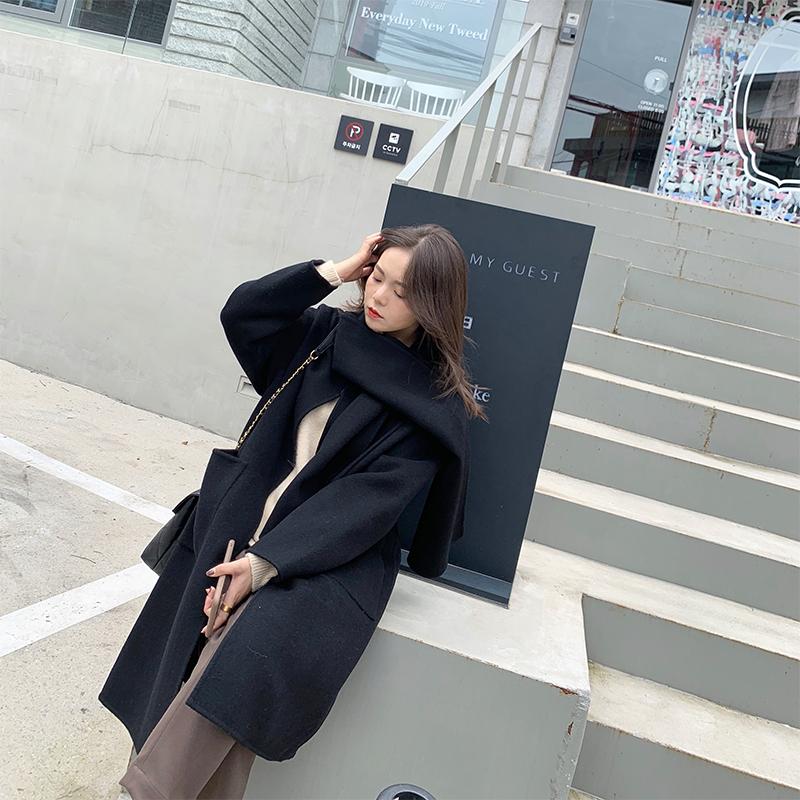 850g len đầy đủ thủ công hai mặt một trong ba sản phẩm tốt áo len nhỏ phụ nữ áo len dài - Áo khoác ngắn