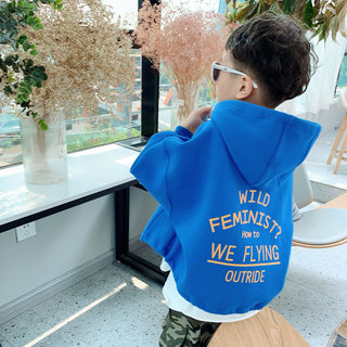 Boys plus fleece sweater spring 2021 cool trendy hooded middle-aged children's western style jacket zipper spring new jacket