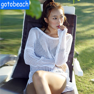 Seaside Vacation Long Sleeve Sexy Bikini Swimsuit Swimsuit Coat Sneakers Beach Sunscreen Clothes Outside Female Coveralls