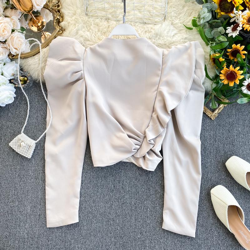 Европа и америка ins волна сердце машинально куртка женщина дизайн смысл кривляние сложить тонкий краткое модель западный стиль пузырь рукавов свитер 609762270537