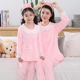Parent-child wear autumn and winter children's pajamas coral fleece boy flannel girl mother and daughter lace princess home service suit