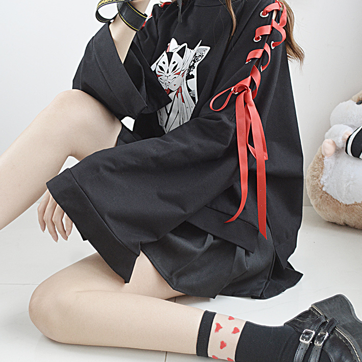 猫愿原创 妖狐古风暗黑绑带短款卫衣