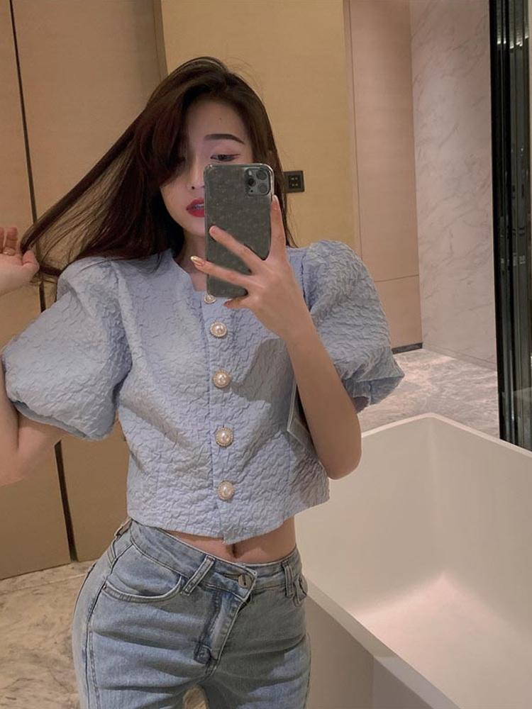 小香风泡泡袖短款褶皱小外套女夏季修身短袖上衣小众衬衫纯色衬衣