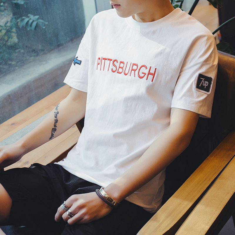 2018新款夏季短袖t恤男士白色韩版圆领半袖体恤学生潮流修身上衣