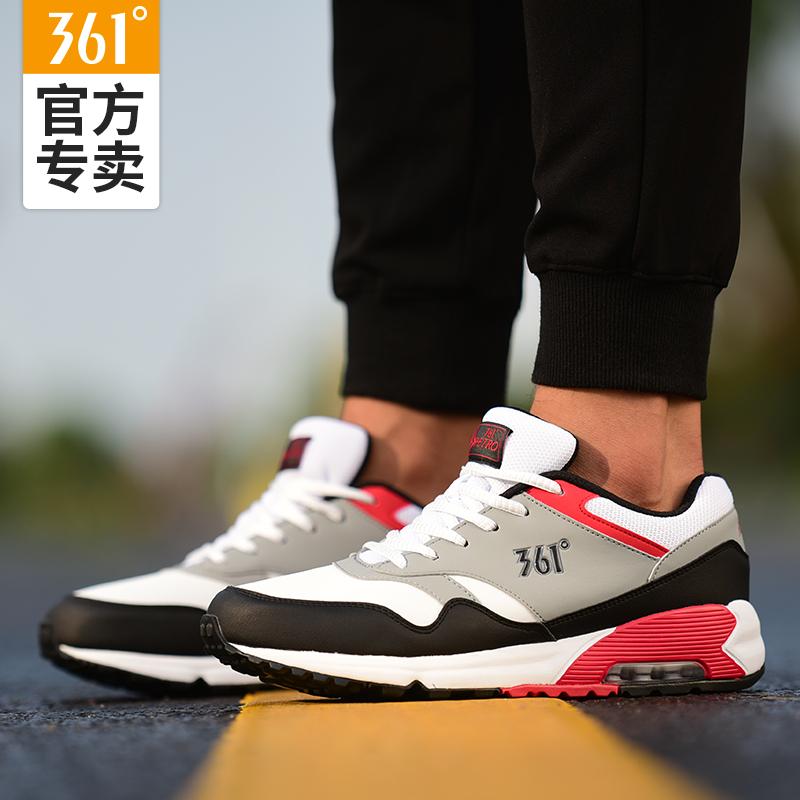 361男鞋运动鞋夏季新品学生气垫鞋透气轻便皮面跑步鞋361度跑步鞋