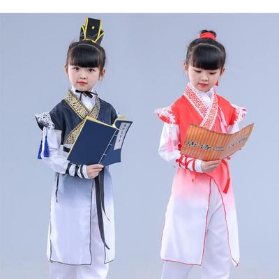 Girls Jazz Dance Costumes Chinese Dresses and Children Books and Girls'Performing Dresses Primary School Students Recite Three-Character Classical Chinese Dresses from Tang Poetry