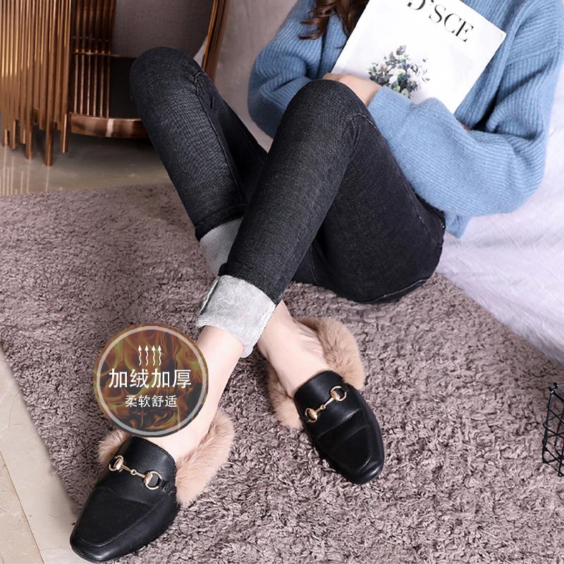 【全国包邮】秋冬加绒牛仔裤女高腰显瘦休闲