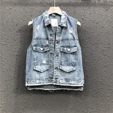 Ai Tianli 2021 summer new hole denim vest female European goods loose and thin tooling short jacket vest