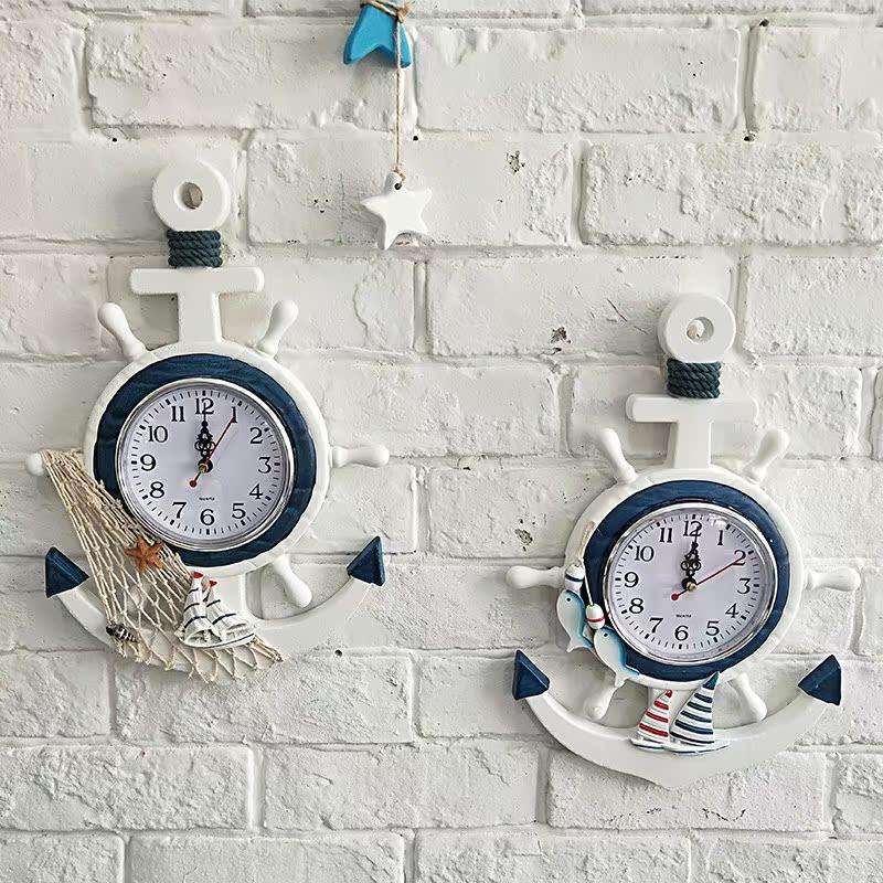 配件新款挂钟木质地中海墙饰壁饰时尚大号2018儿童创意轻奢大气餐