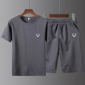 Шелк льда движение T футболки случайный лето бег фитнес свободный быстросохнущие мужской пять минут штаны короткий рукав сочувствовать мужской костюм, цена 440 руб