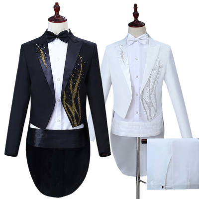 Men's Jazz Dance Costumes Men Performing Dresses Hot Drill Swallowtail Dresses Black and White Magician Bel Canto Singer Conductor Dresses Wedding Suit Colored Drill