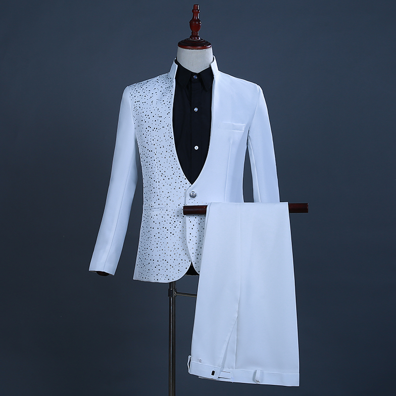Men's Jazz Dance Costumes Man's collar and diamond jacket, presenter's dress, long sleeve suit, stage singer's suit, black and white dress