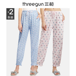 Three guns home pants women's spring and summer pure cotton printing home pajamas lace-up cotton ladies home pants pants thin section