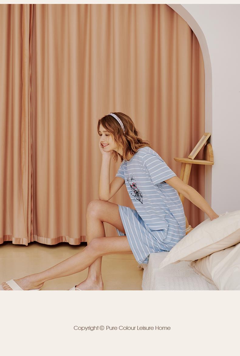 三枪新疆纯棉睡裙女春夏年新款宽鬆显瘦短袖睡衣裙可爱家居裙详细照片
