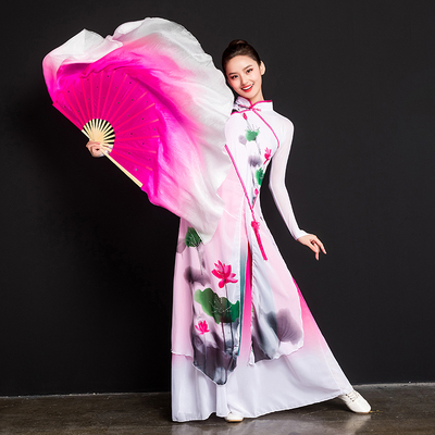 Dance Fan Dancing Fan Lengthened Adult Silk Double-sided Yangko Fan Performing Big Fan Gradually Changing Beautiful Performing Fan
