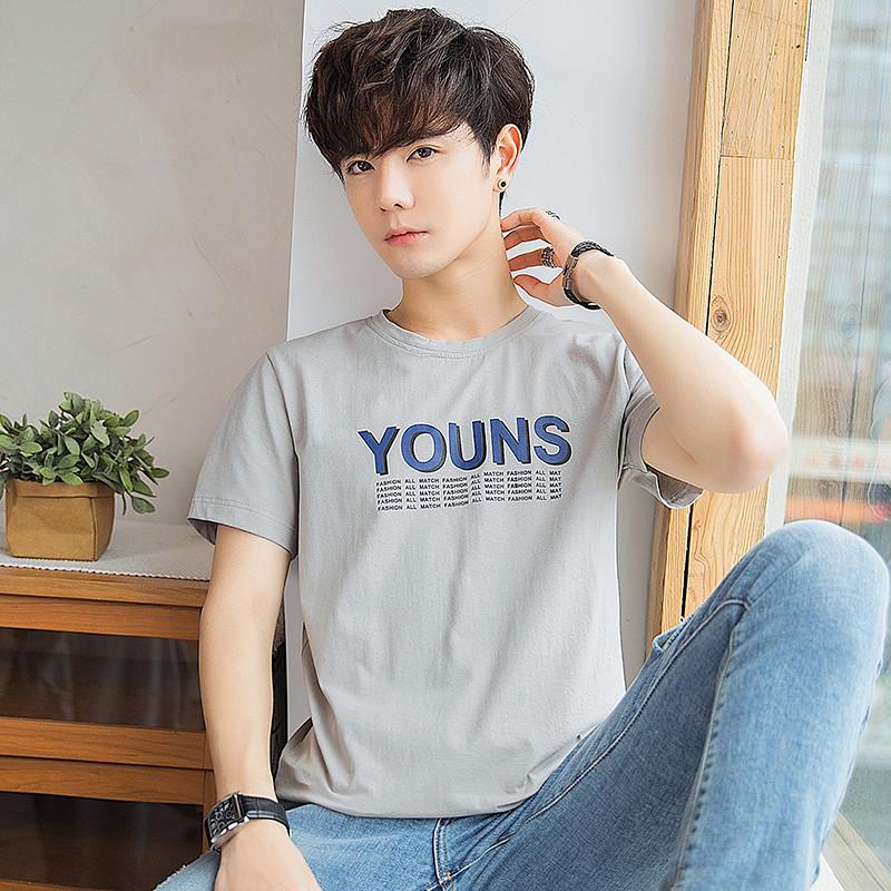 男士短袖t恤2019夏季新款韩版百搭潮牌体恤潮流男装上衣服T恤