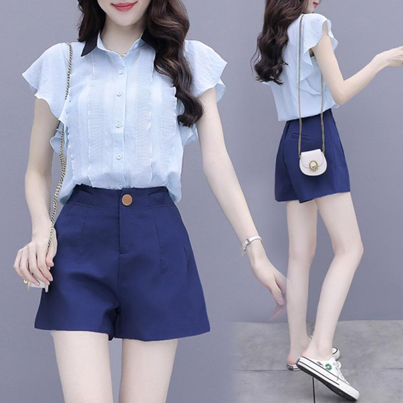 康礼夫2020夏季新款雪纺衫套装女时尚显瘦显高休闲短裤衬衫两件套