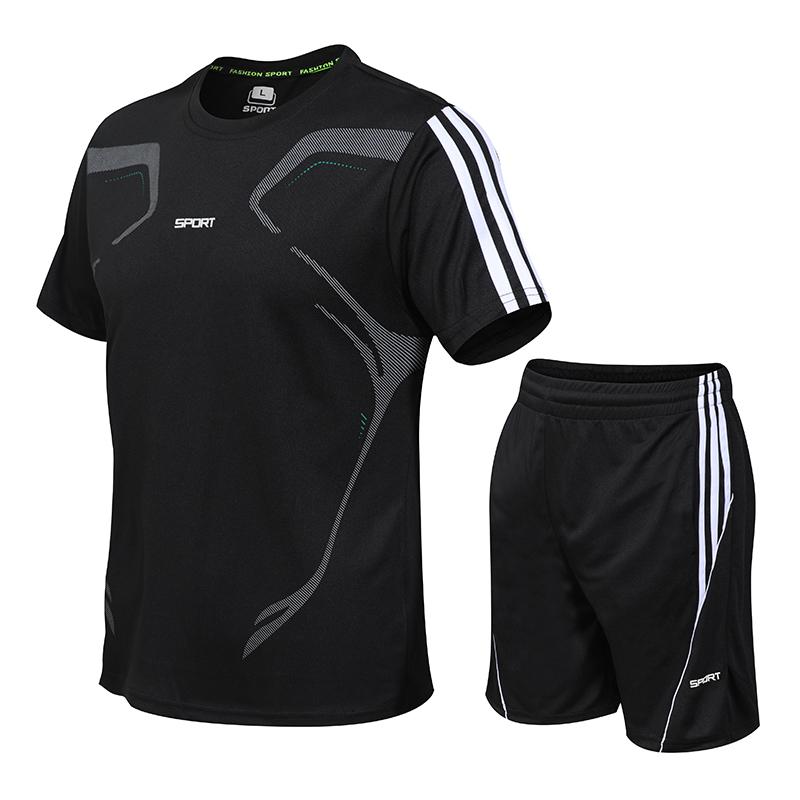 2020短袖t恤男士运动套装潮牌夏季2020新款一套搭配休闲衣服