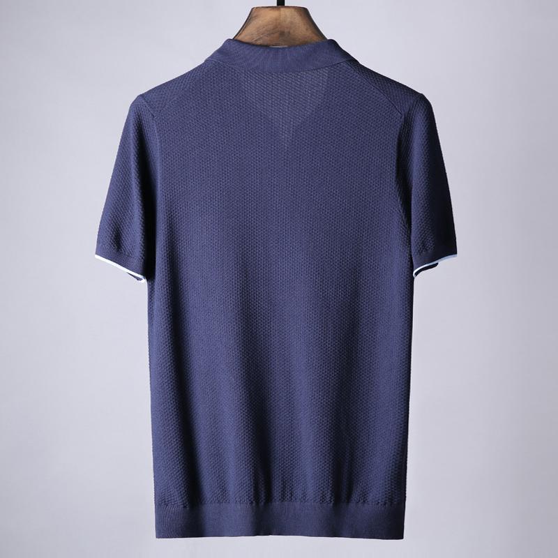 Noida mùa hè-pin jacquard cotton knit kinh doanh bình thường burst đẹp trai chic ve áo ngắn tay T-Shirt nam M127