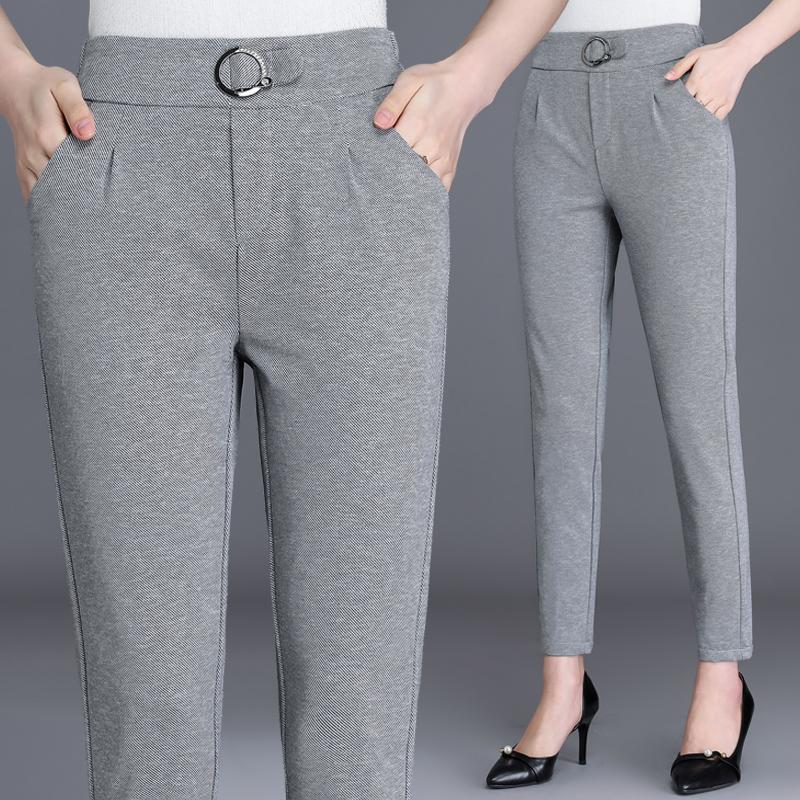 中年妈妈2019新款裤子装修身九分裤大码女裤高腰休闲裤中青年女裤