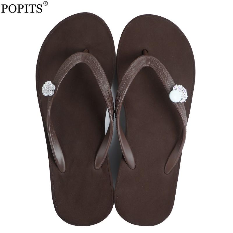 Popits人字拖女时尚轻奢5CM外穿夹脚凉拖海边度假沙滩鞋简约厚底