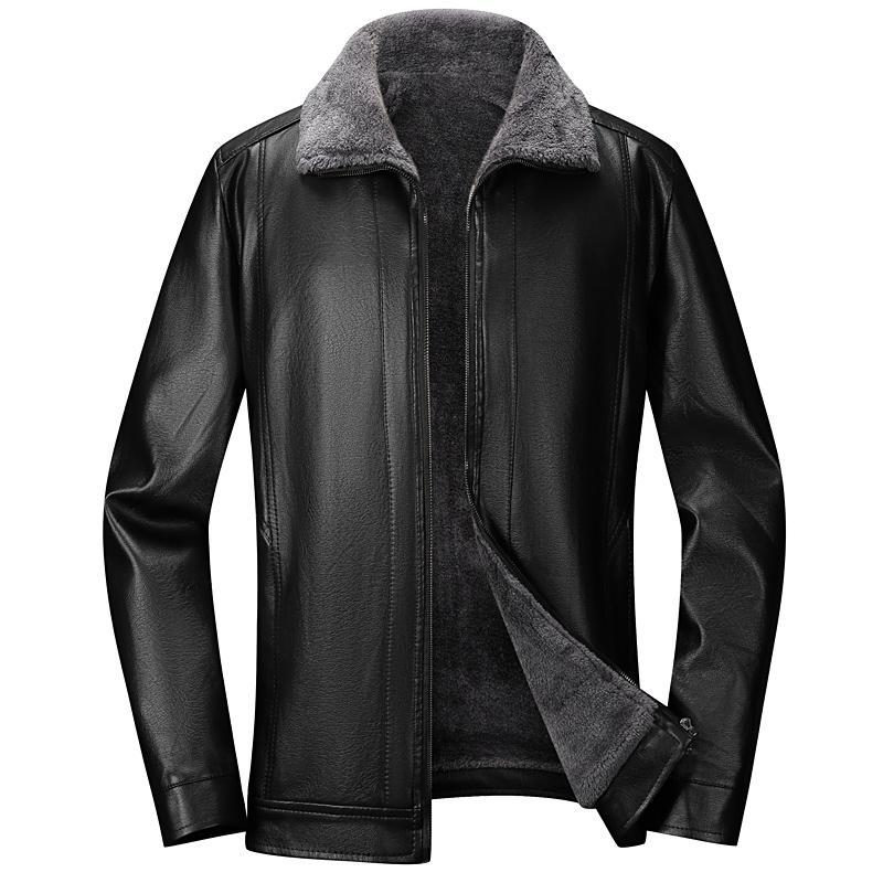 中年爸爸外套PU皮夹克秋冬季中老年男士装加绒加厚翻领皮衣v爸爸