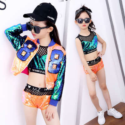 Girls Jazz Dance Costumes Children's Jazz Dress Girls Korean version suit umbilical sequins hip-hop show costumes girls dance clothes trend