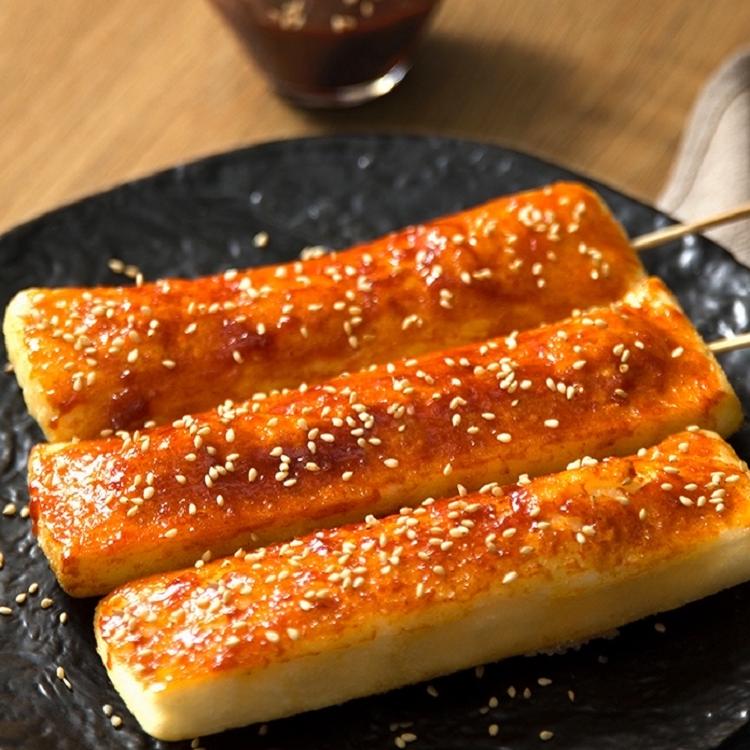 脆皮年糕网红小吃半成品可煎油炸烧烤批发速食韩式年糕条5斤30片