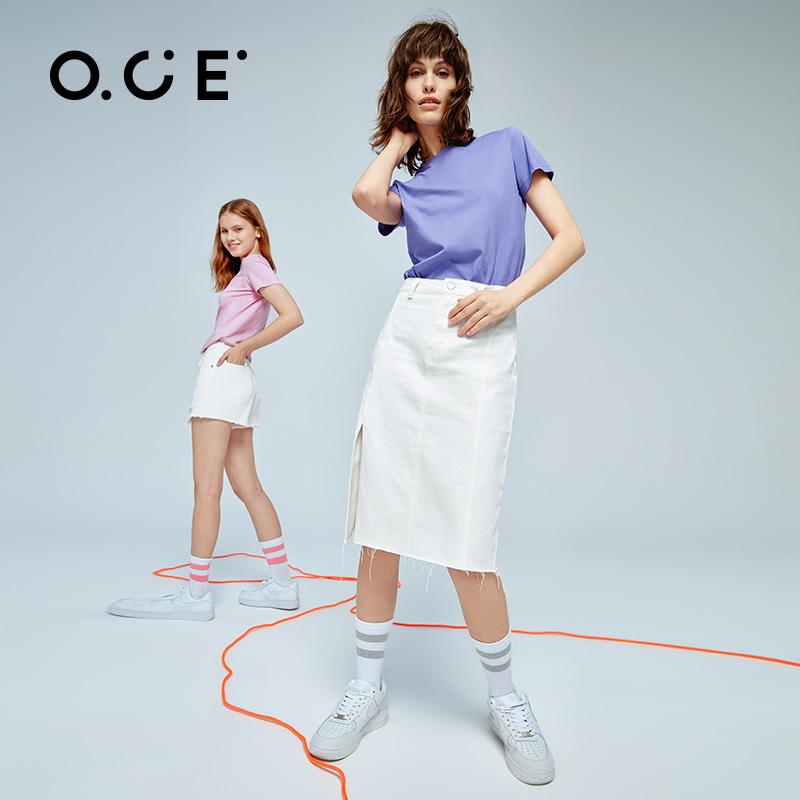 专柜同款 OCE 2021款 女士纯色纯棉短袖T恤