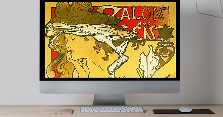 穆夏油画高清图片电子版素材教学临摹喷绘打印装饰画芯插图(14)