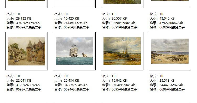 精选高清风景油画图片合集 装饰画画芯临摹喷绘打印素材作品集插图(46)