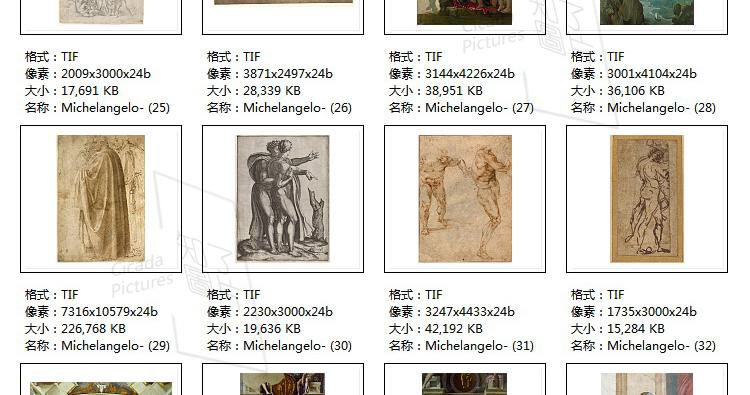 米开朗基罗 高清油画图片素材电子版文艺复兴装饰画喷绘打印临摹插图(26)