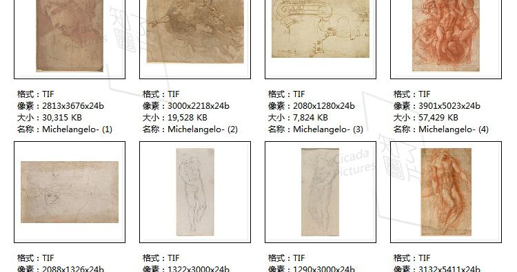米开朗基罗 高清油画图片素材电子版文艺复兴装饰画喷绘打印临摹插图(22)