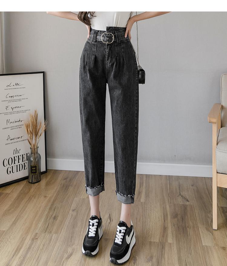 新款韩版高腰直筒牛仔裤女宽松显瘦老爹阔腿哈伦裤