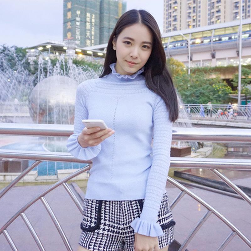 春装卓家新款韩版时尚同款镂空毛衣边修身打底针织衫J57606