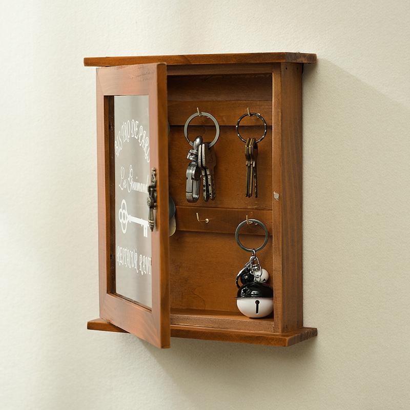 实木钥匙收纳盒壁挂门口客厅创意家用整理装饰玄关钥匙收纳钥匙盒
