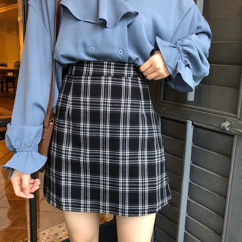 春夏季新款格子裙a字半身裙子女学生短裙